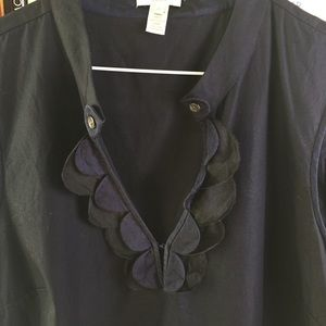 J. Crew Navy Black Silk and Cotton Ruffle Neck Top